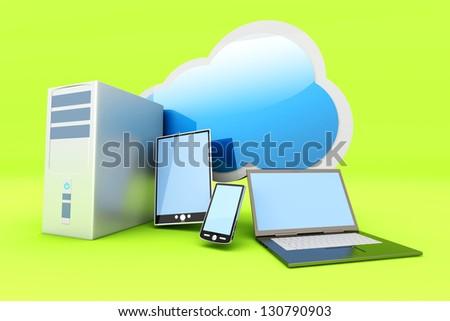 Cloud computing. 3D rendered illustration.