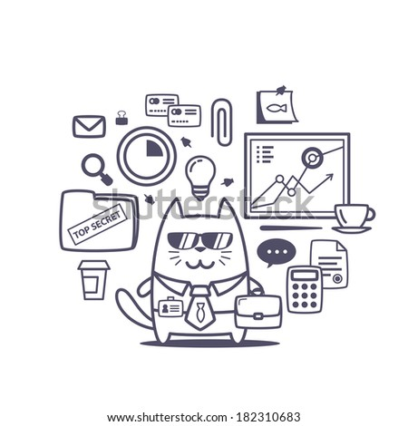 Character businessman in a business suit with a tie and sunglasses line art composition of professional accessories. Cat male stands smiling and holding a office bag