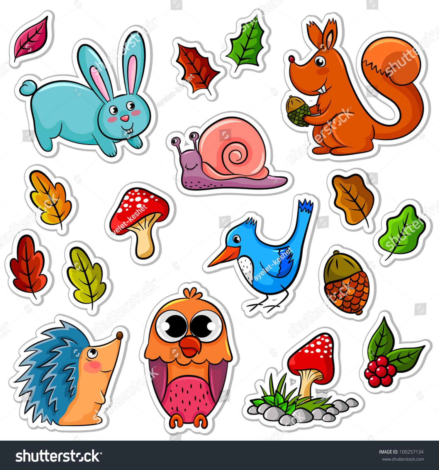 收集的森林动物和植物(在我的投资组合向量可用)-动物