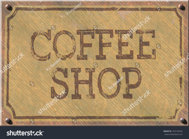 咖啡店迹象,1890年的古董,岁的道格拉斯冷杉板磨损和.