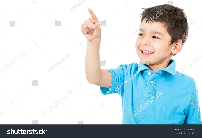 快乐的男孩用手指指向——孤立在白色背景-人物,其它