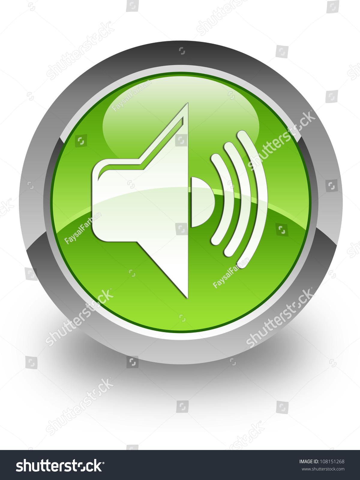 音量图标在光滑的绿色圆形按钮-符号/标志,抽象-海洛