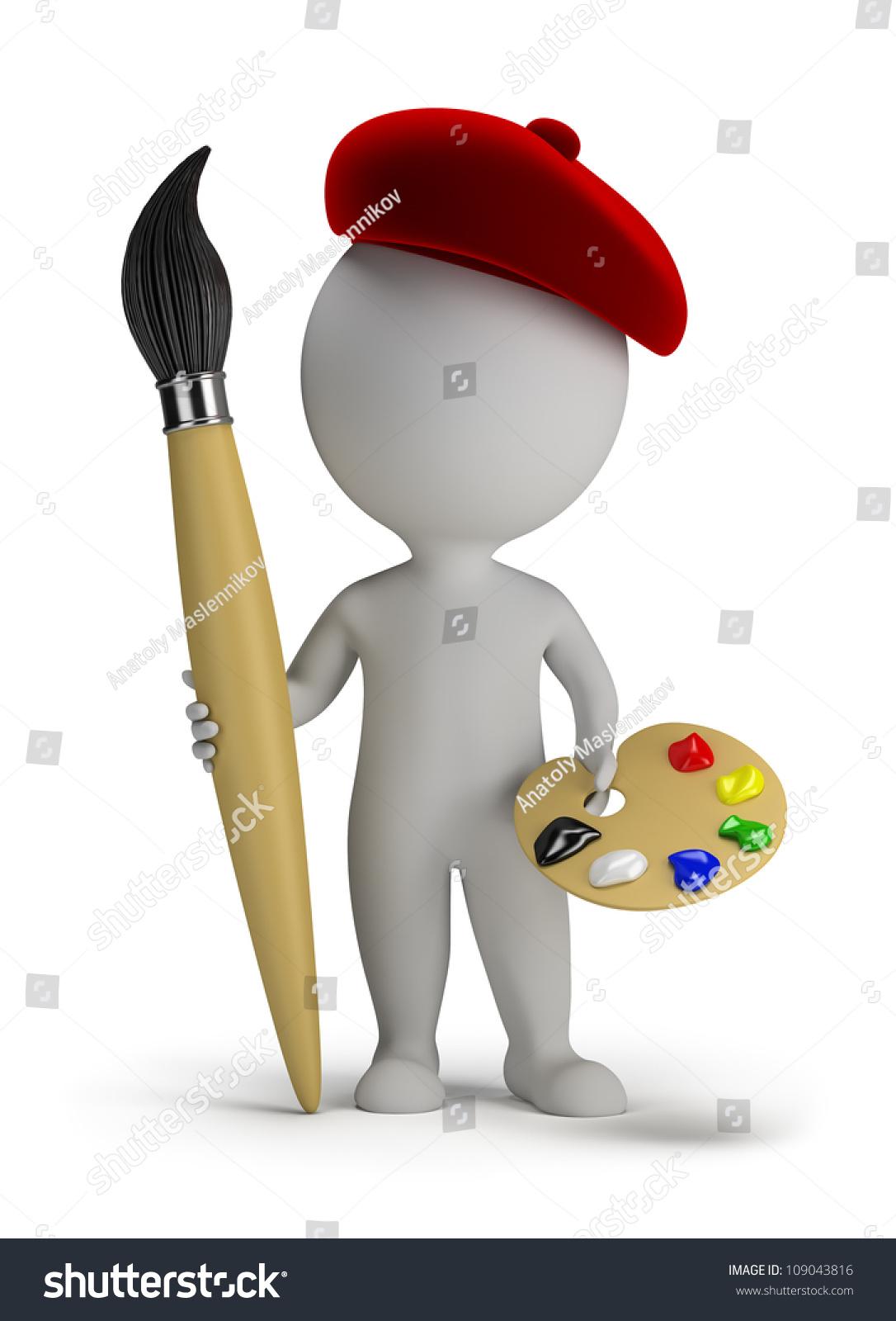 小�9�d_3 d小的人——艺术家手里拿着一个大画笔和调色板.3 d