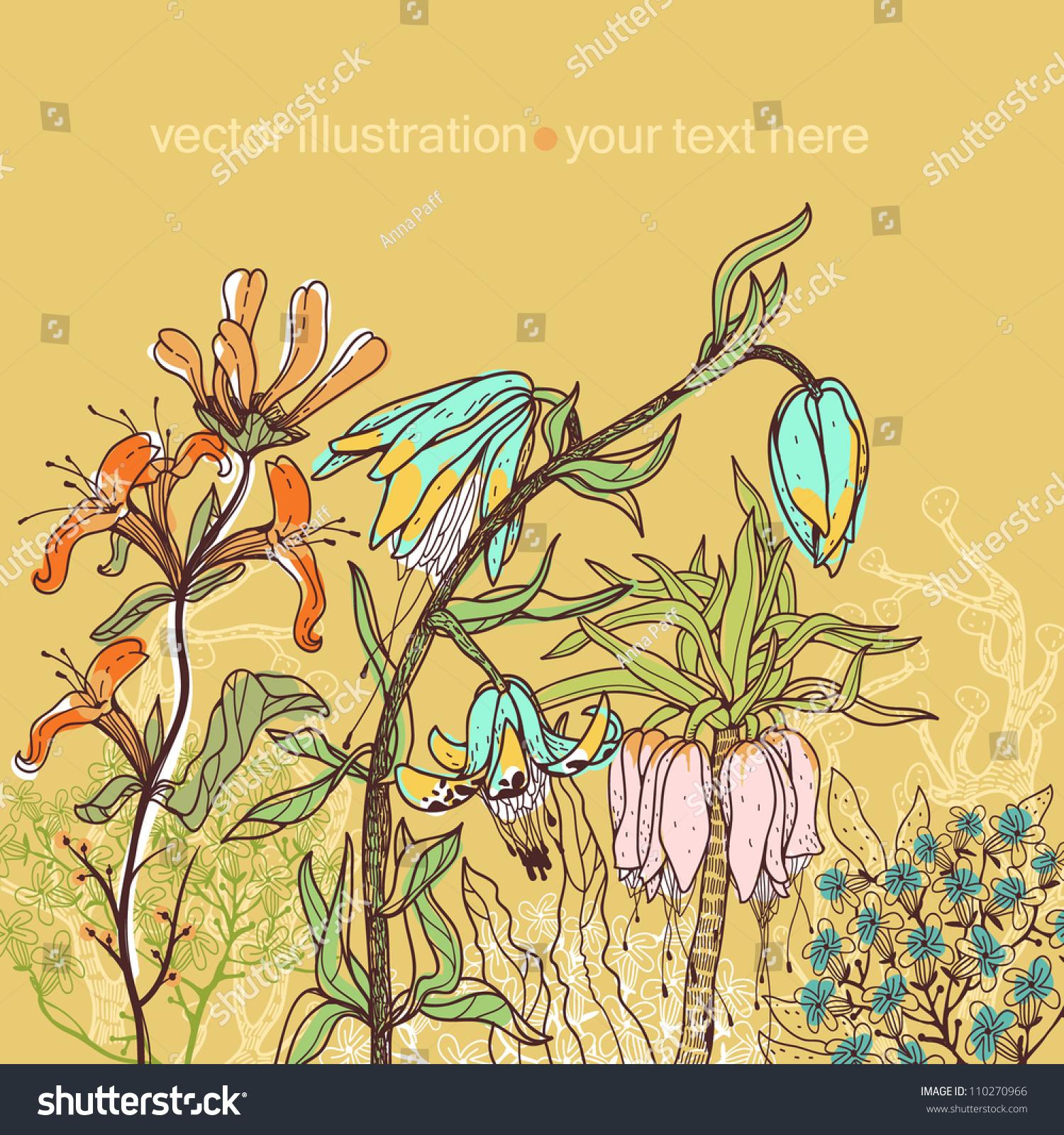 矢量图的彩色手绘花卉