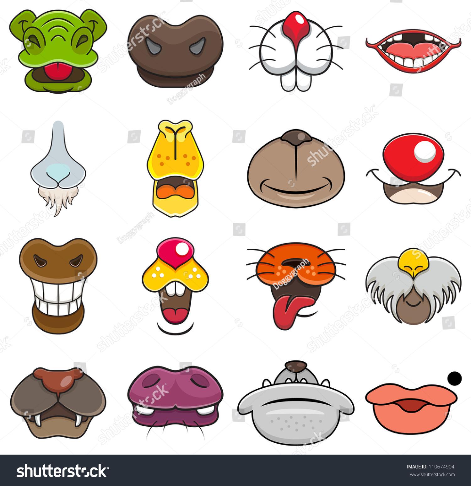 矢量图不同的野生动物的嘴漫画-动物/野生生物