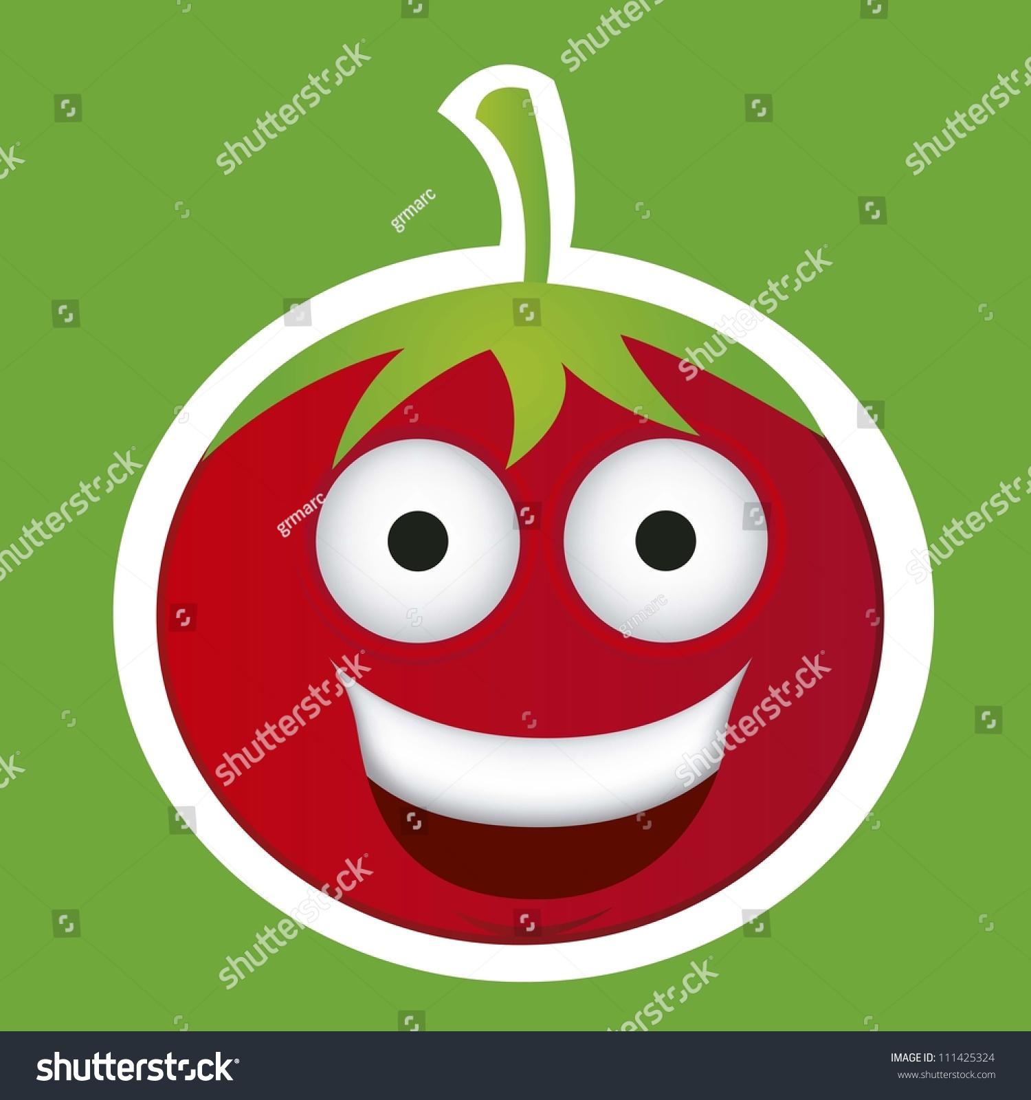 卡通番茄大眼睛和大大的微笑