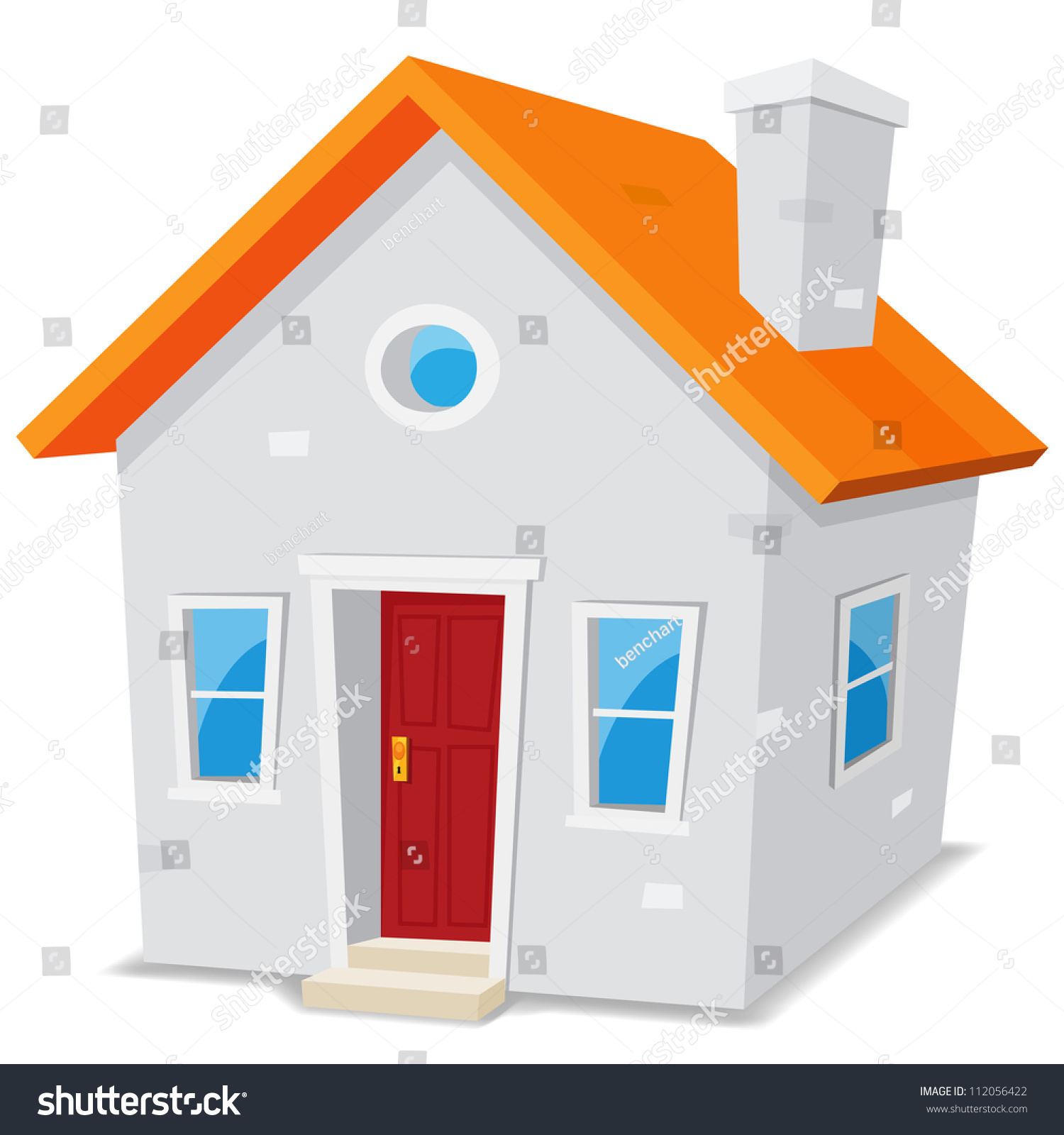 小房子/插图漫画简单的白色背景上的小房子里-建筑物