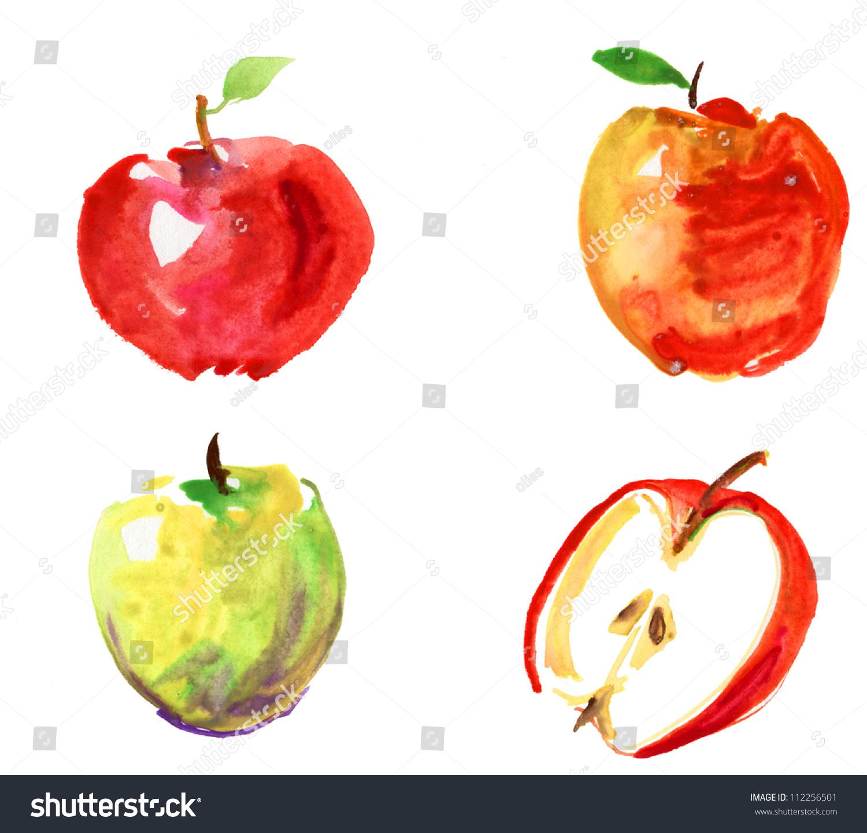 组水彩手绘苹果-食品及饮料,符号/标志-海洛创意()-合