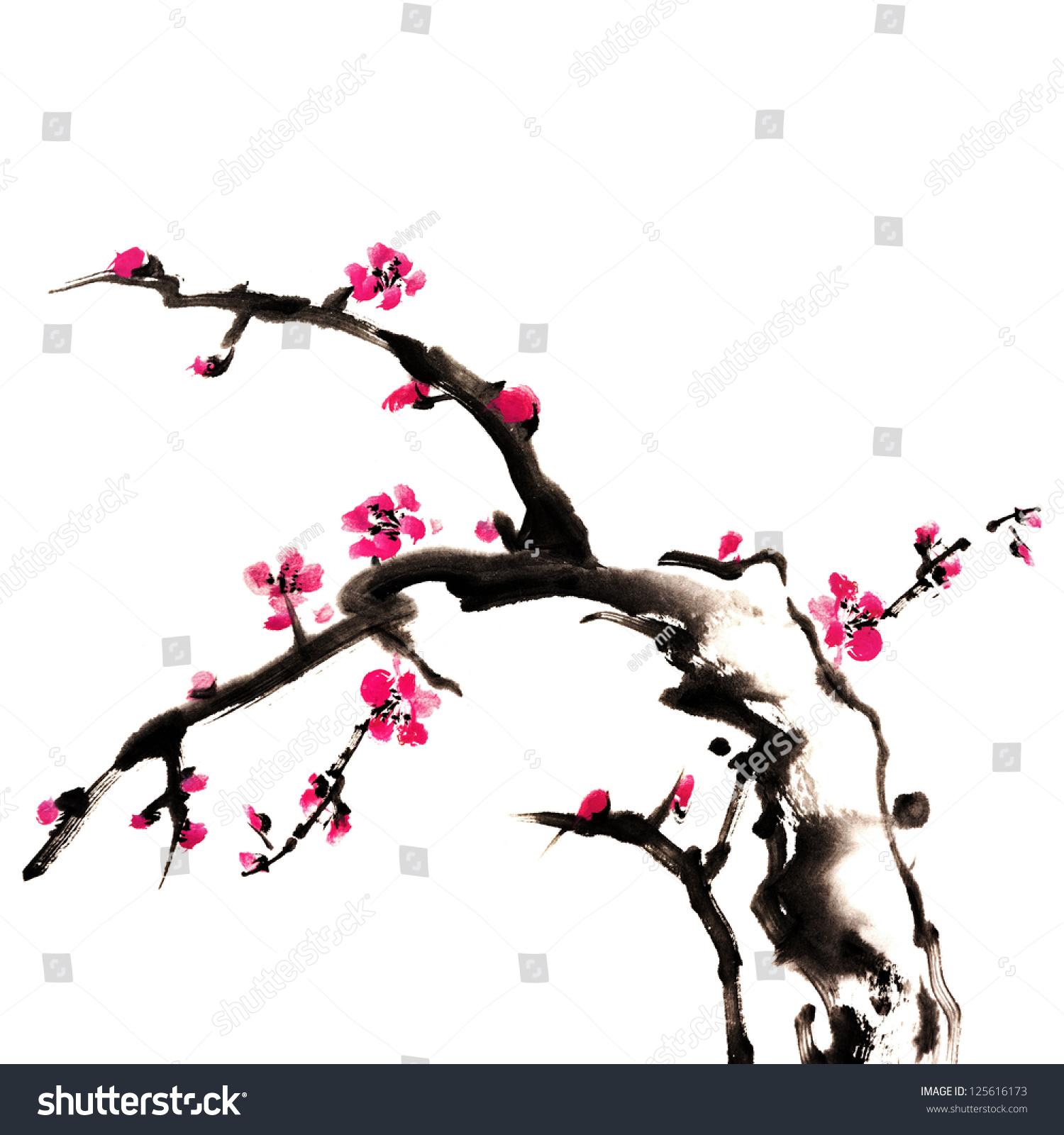 中国画的鲜花,梅花,在白色的背景-艺术,自然-海洛创意图片