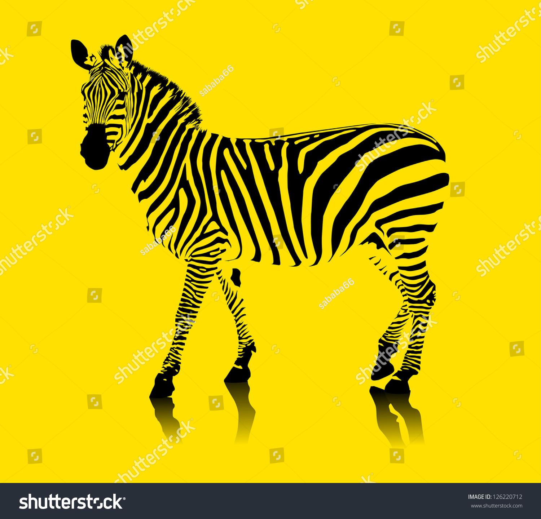 一种黄色背景的斑马黑白相间的;-动物/野生生物