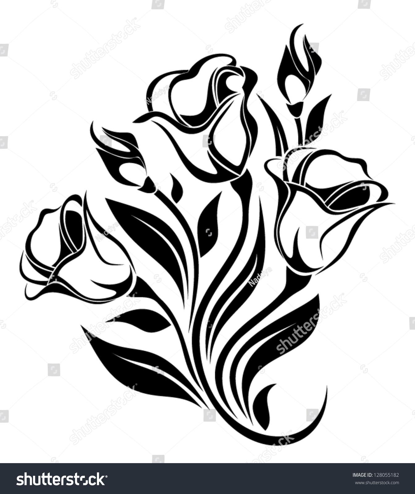 花朵点缀的黑色剪影.矢量插图.-自然,复古风格-海洛()