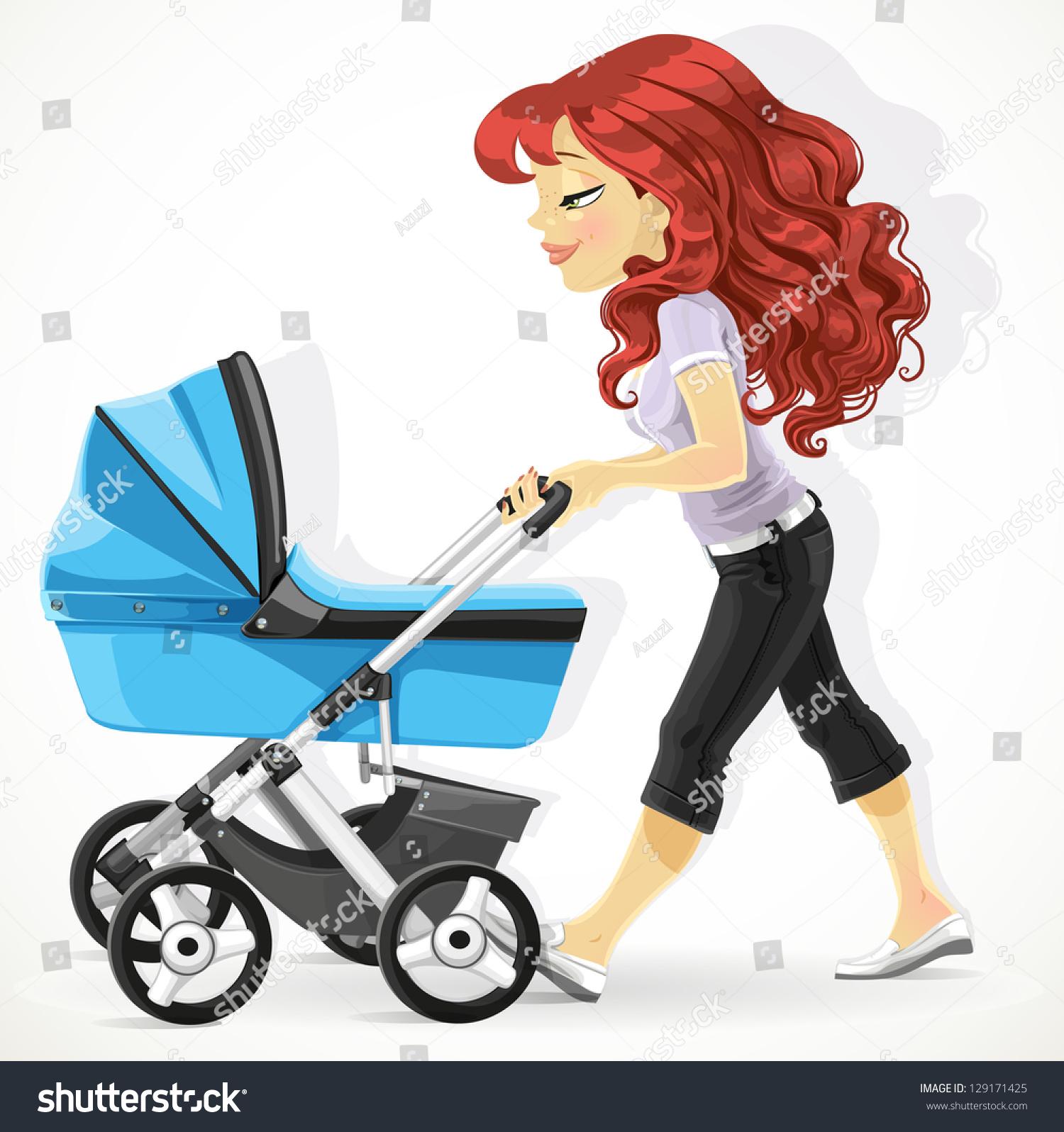 可爱的母亲带着一个蓝色婴儿车走孤立在白色背景
