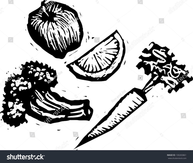 健康食品的黑白矢量插图-食品及饮料-海洛创意()-中国