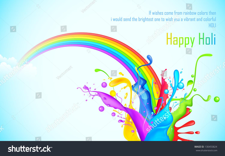 插图丰富多彩的飞溅彩虹的胡里节墙纸-背景/素材