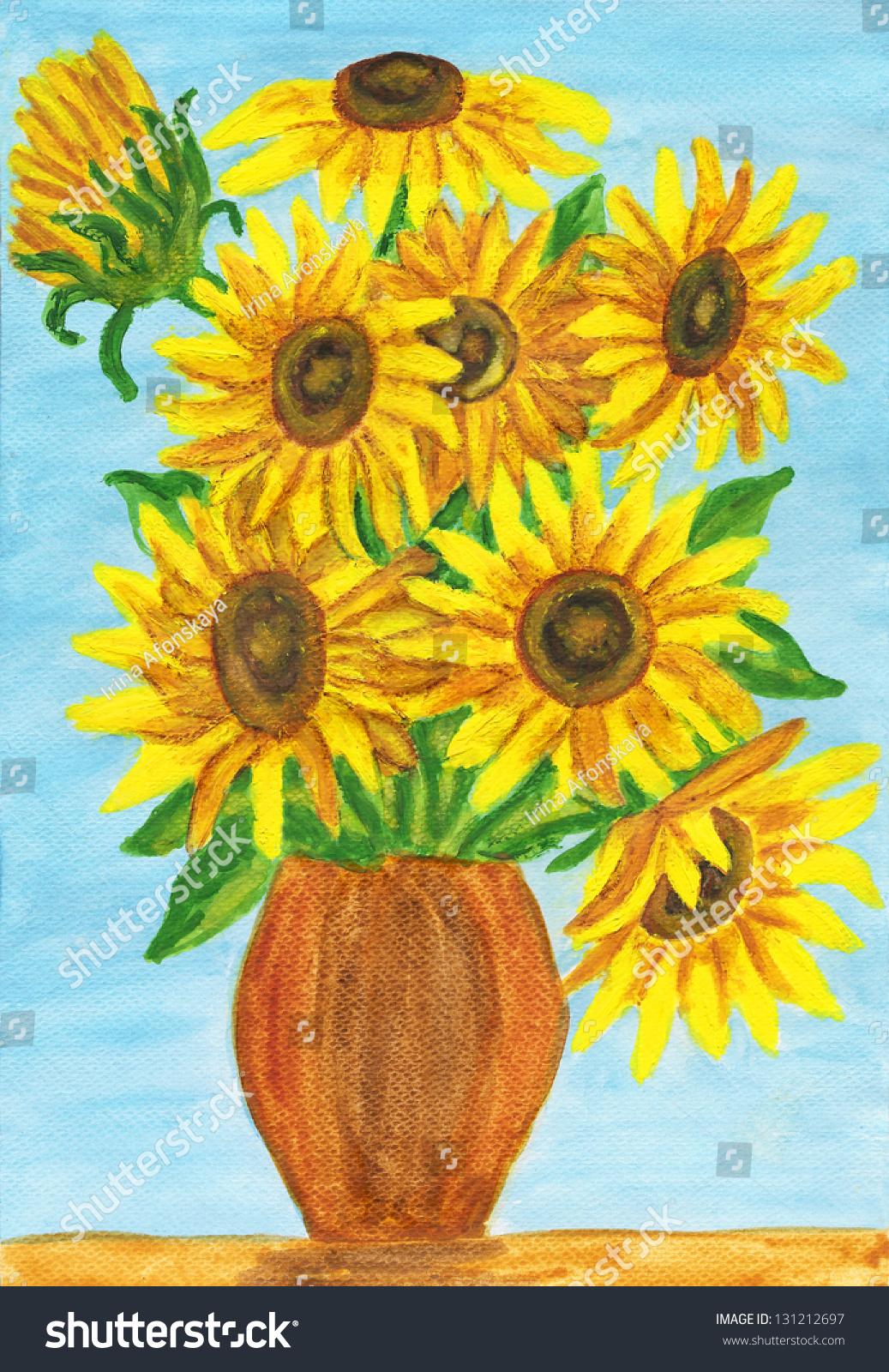 束向日葵,手绘图片,丙烯酸.-艺术,自然-海洛创意()-.
