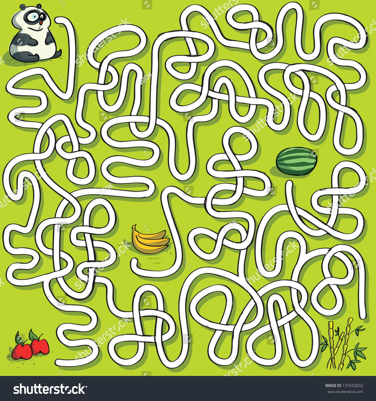 熊猫竹子迷宫游戏为儿童.手绘插图在eps10矢量模式.:!