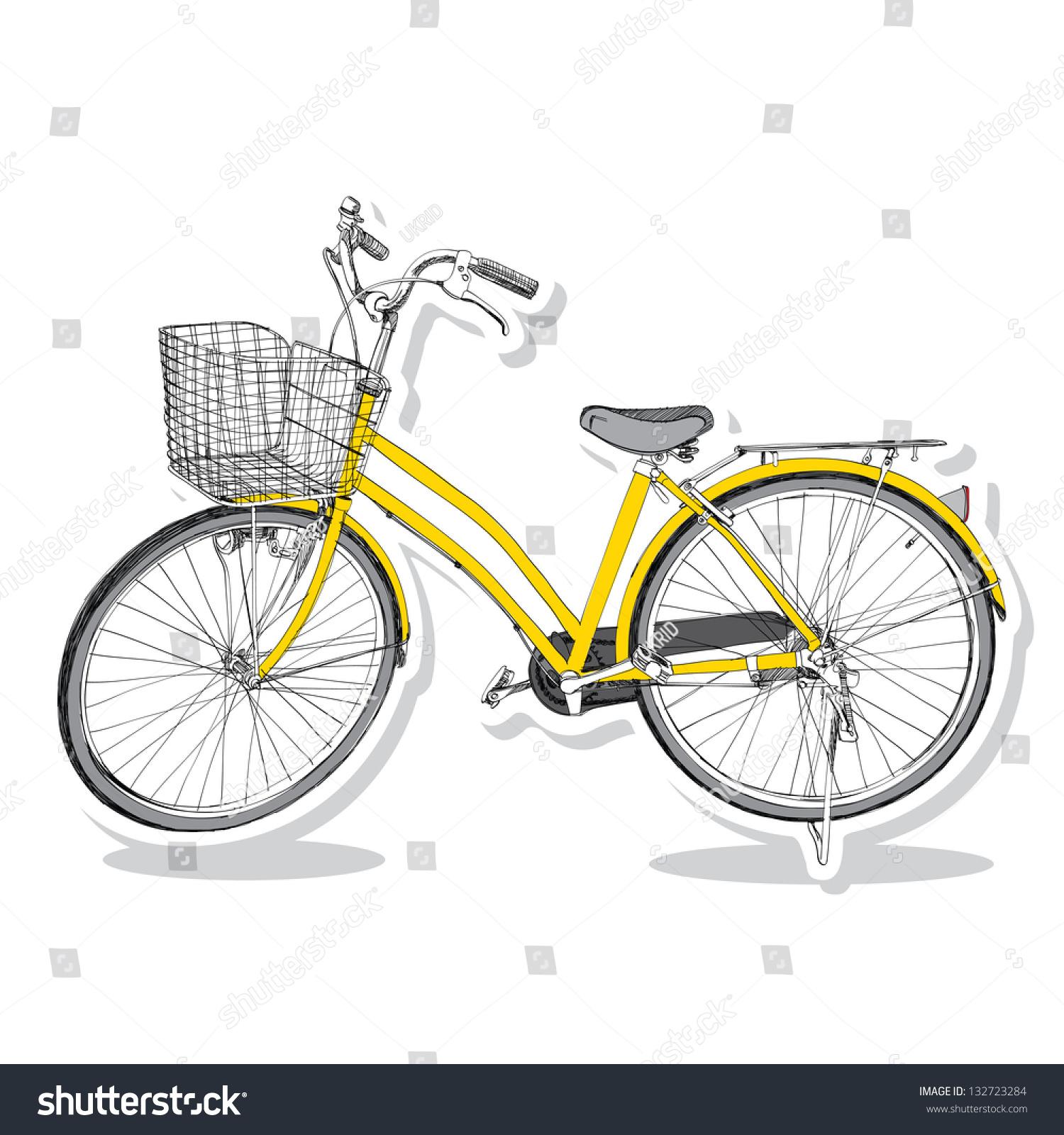旧自行车-手绘插图手绘-交通运输,艺术-海洛创意()-合