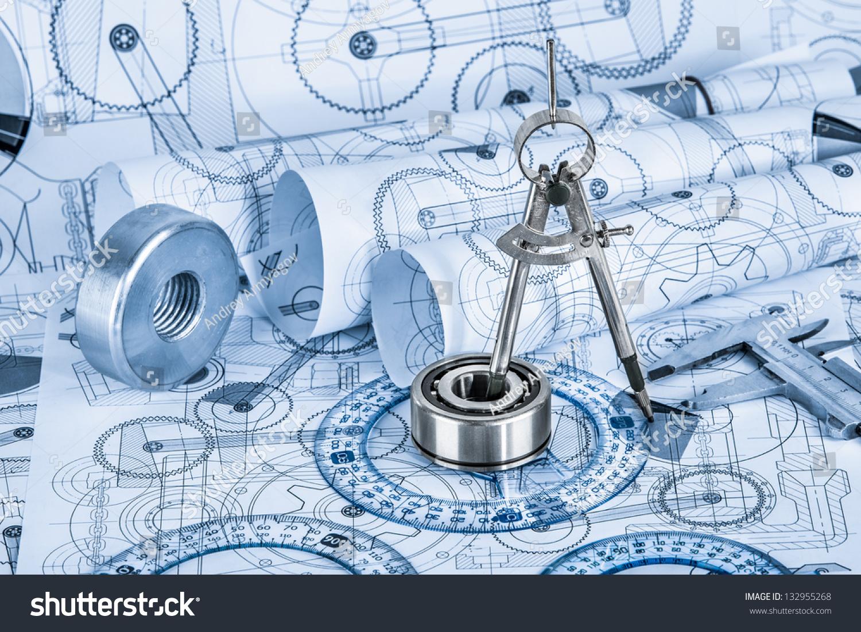 技术图纸与轴承蓝色调色-背景/素材,物体-海洛创意()