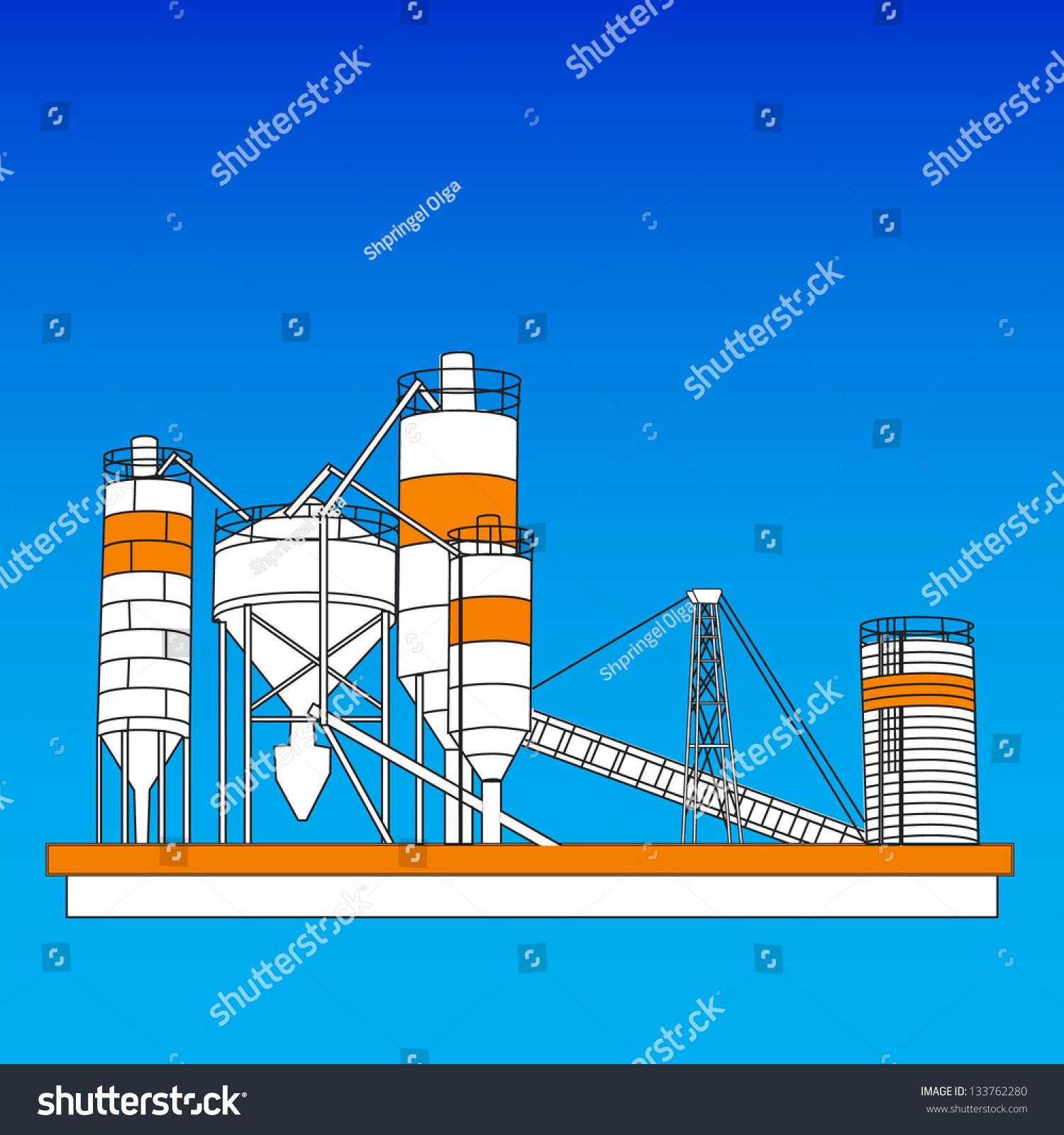 工业蓝色背景植物混合光栅-建筑物/地标,商业/金融-()