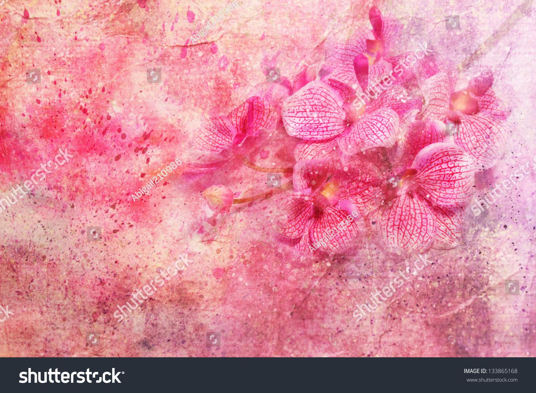 粉色兰花和水彩溅-背景/素材,艺术-海洛创意(hellorf)