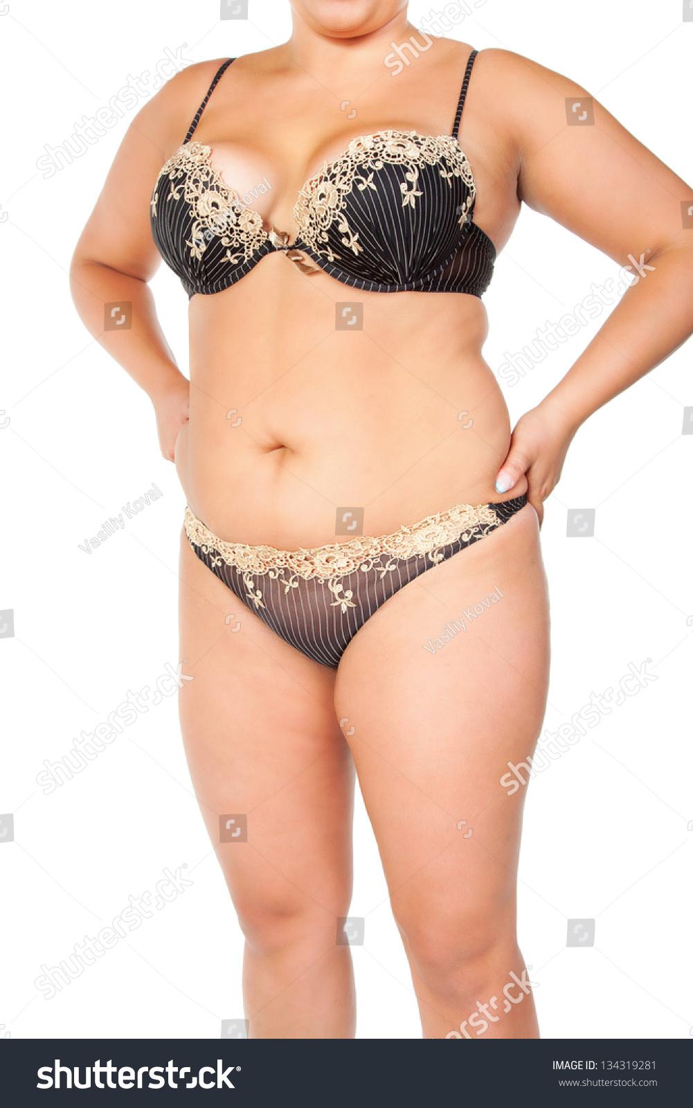 胖女人孤立在白色的-人物,美容/时装服饰-海洛创意()