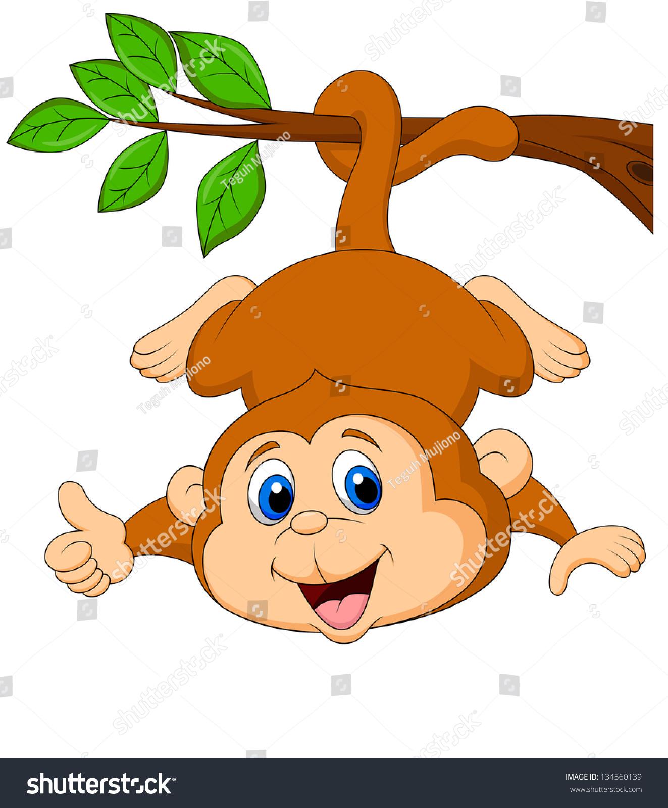 可爱的猴子卡通挂伸出大拇指-动物/野生生物-海洛