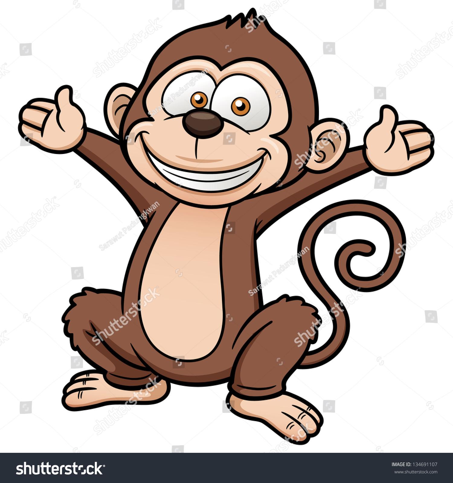 矢量图的卡通猴子-动物/野生生物