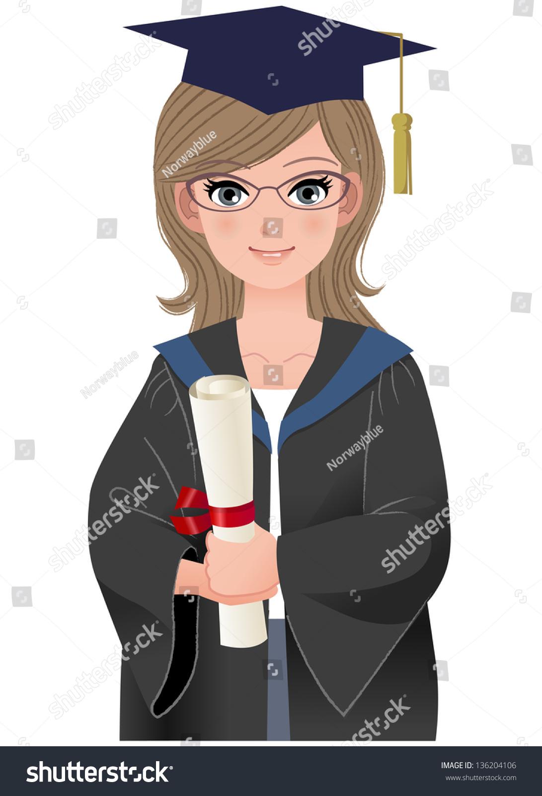 快乐的女研究生学位服拿着文凭.文件包含梯度,混合和.图片