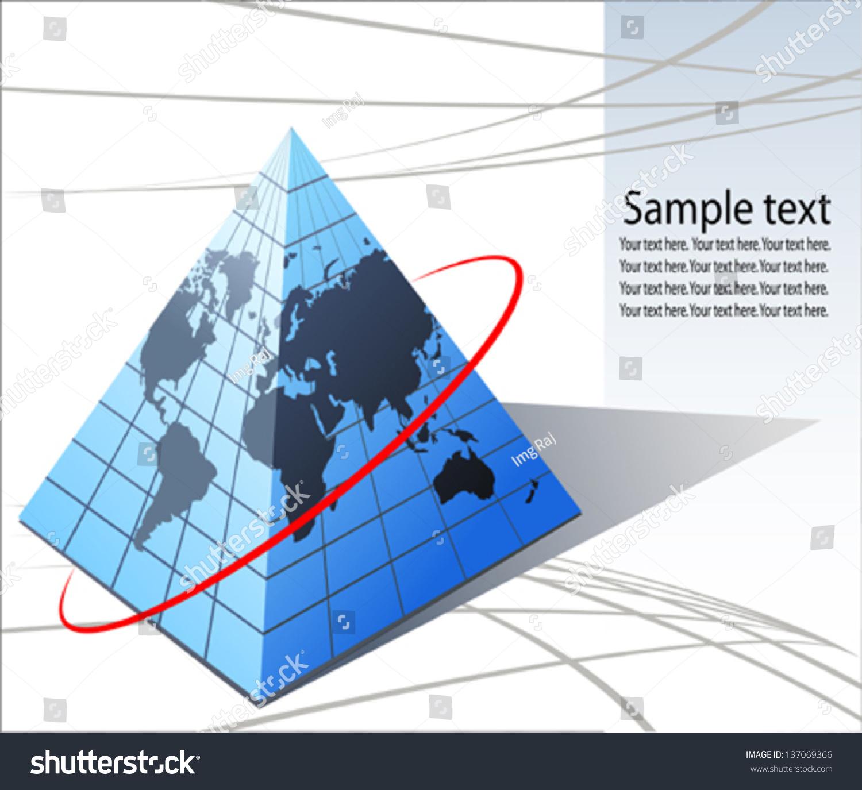 世界地图在金字塔形状-物体