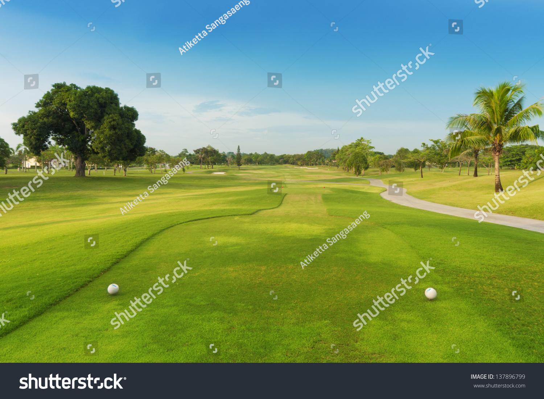 高尔夫球场从发球台绿色.-运动/娱乐活动,公园/户外