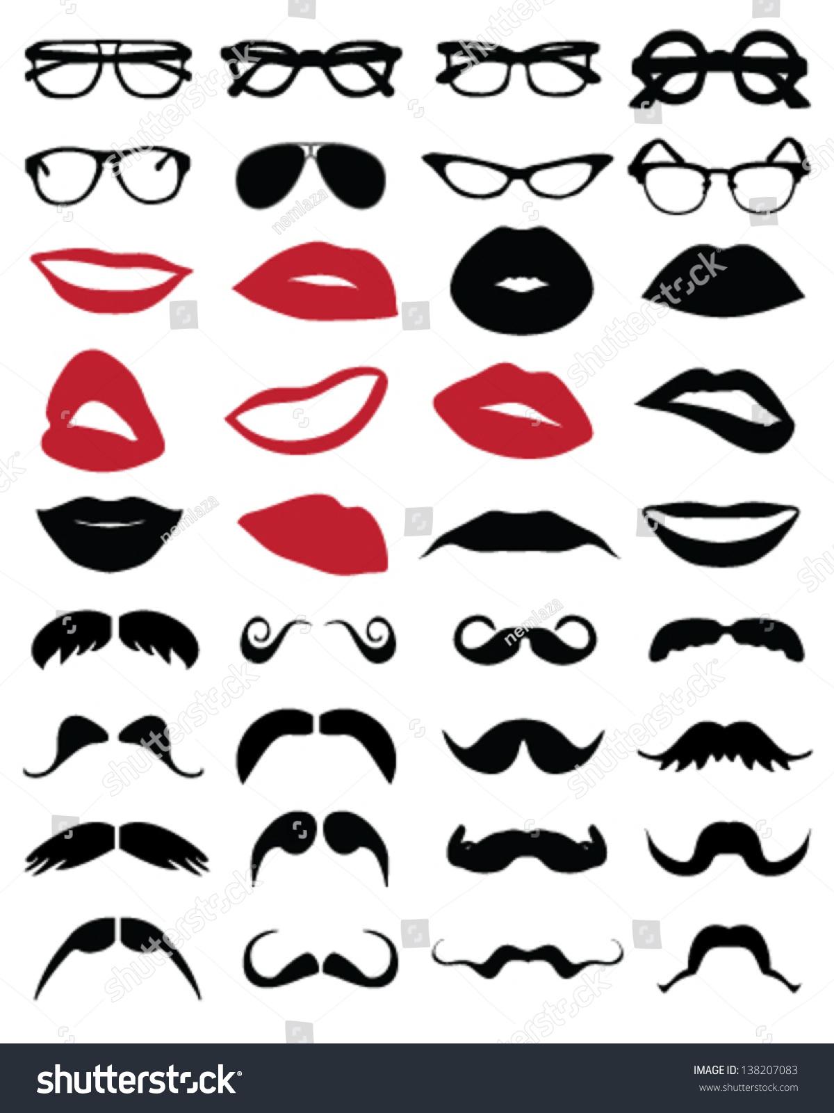 剪影的胡子,眼镜和嘴唇矢量-背景/素材