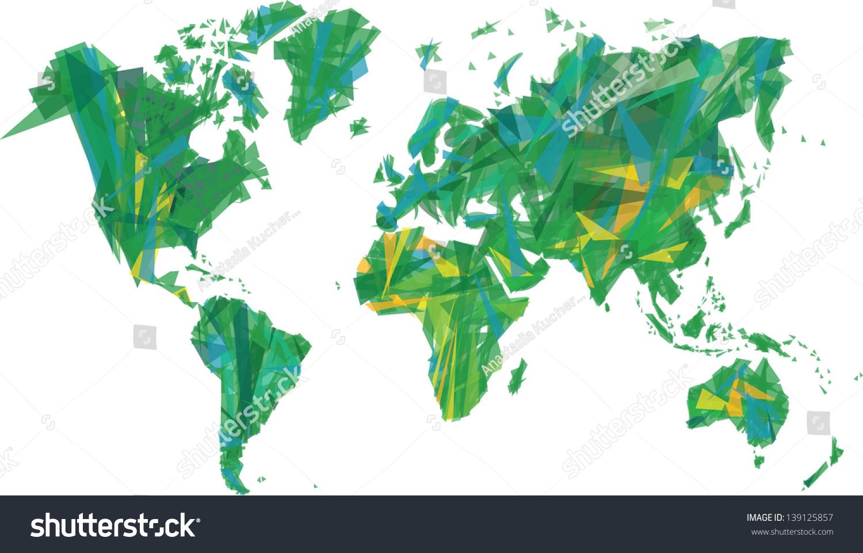 绿色的世界地图-艺术,抽象-海洛创意(hellorf)-中国-.
