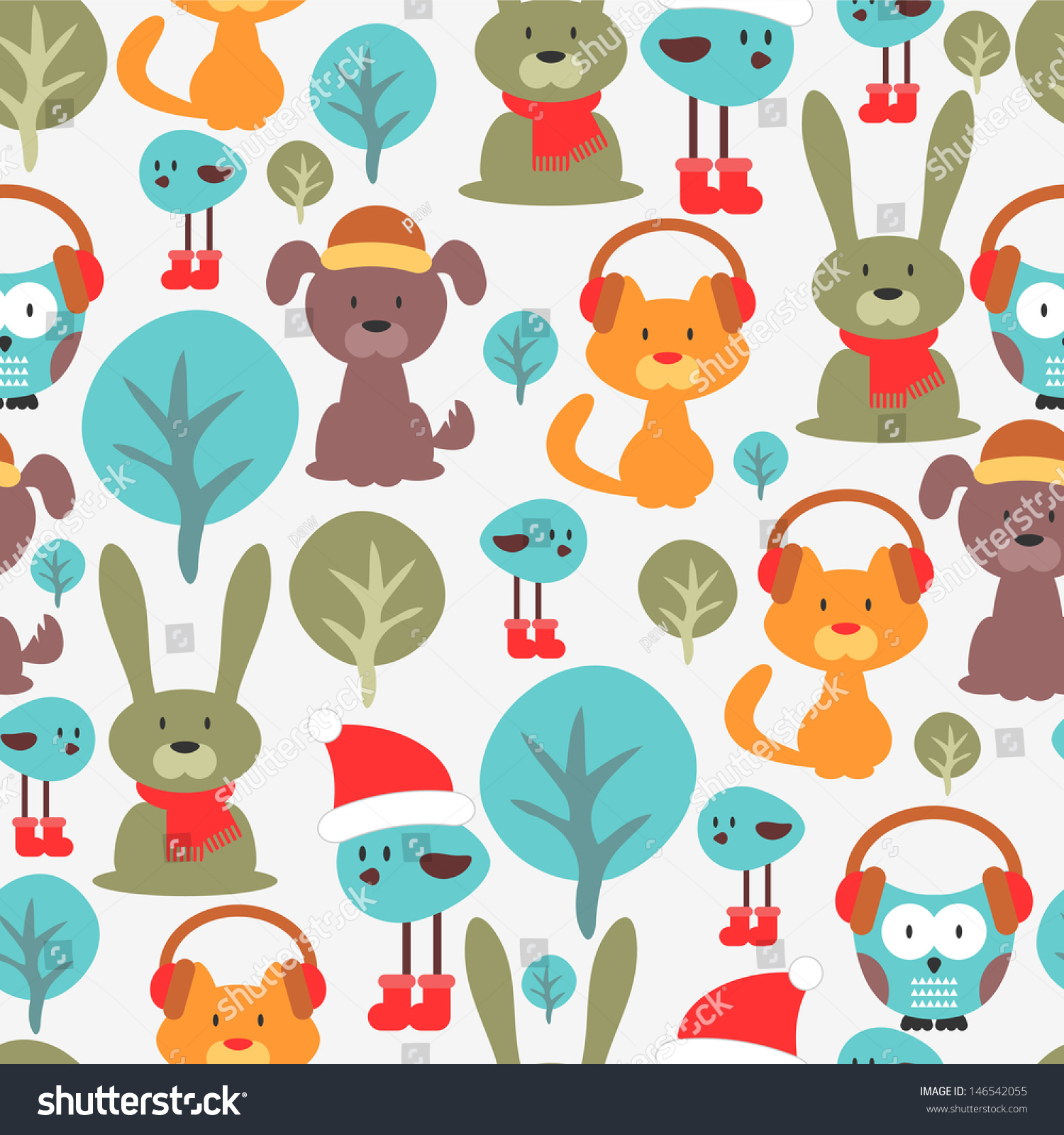 无缝模式与可爱有趣的动物-动物/野生生物,背景/素材
