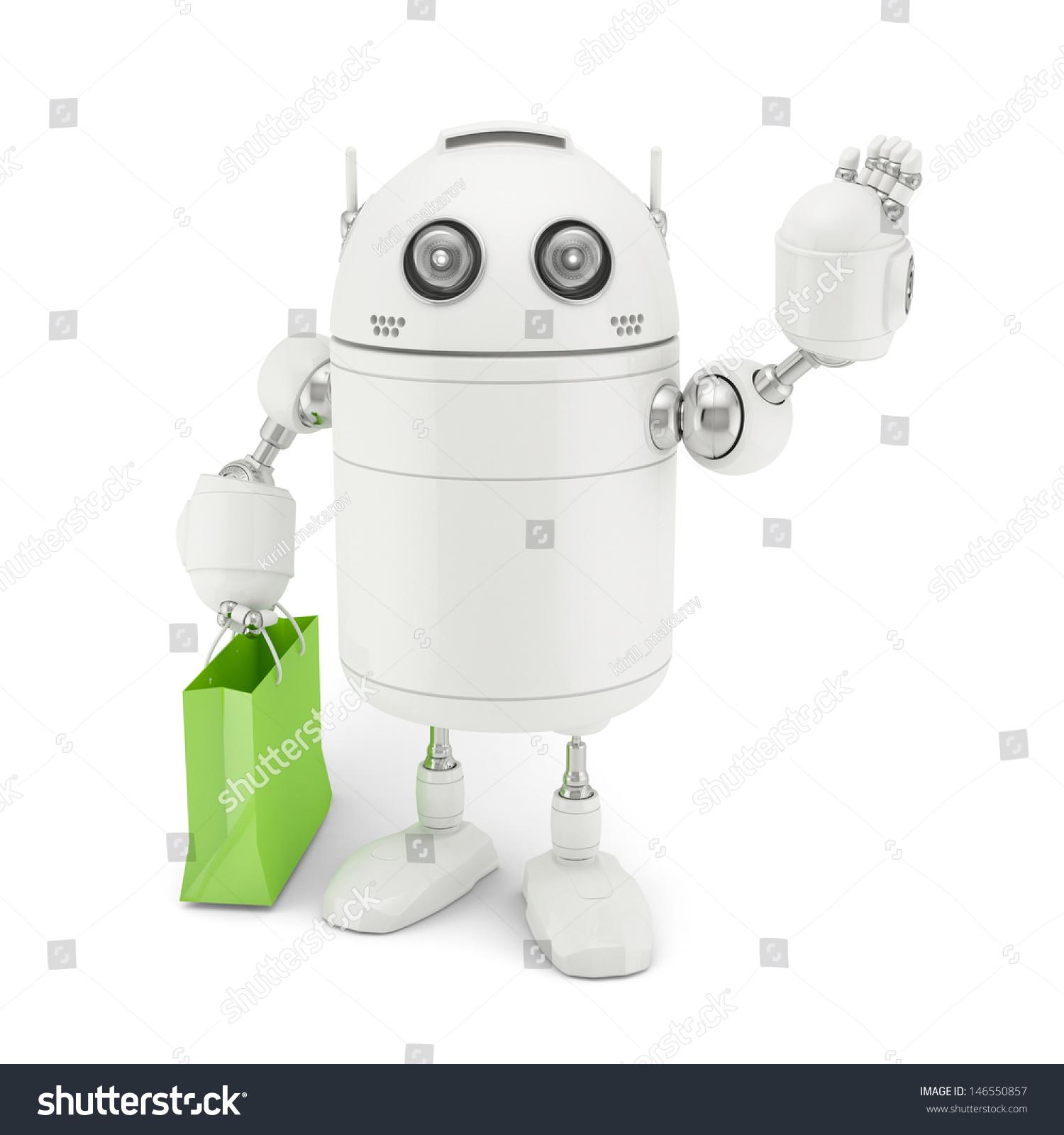机器人购物袋.白色背景上呈现-商业/金融,科技-海洛()