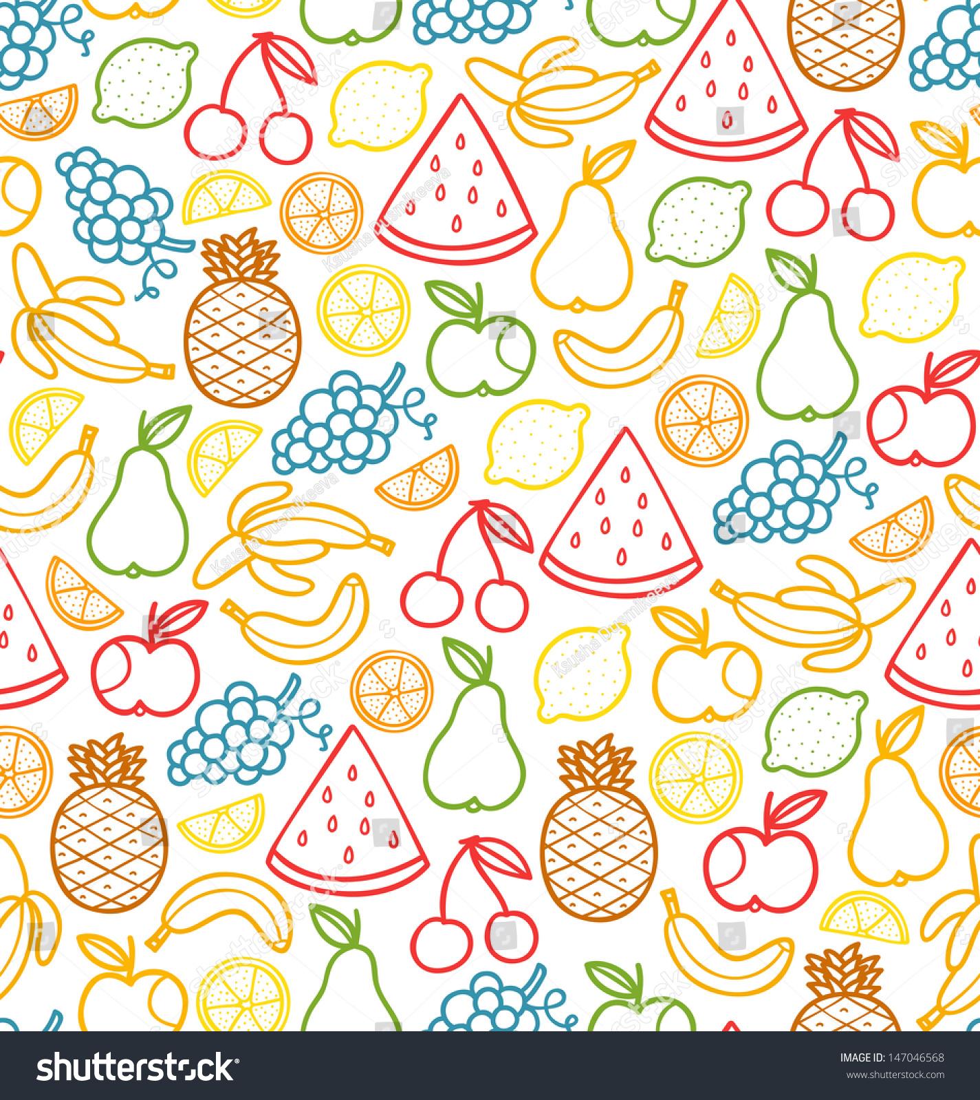 无缝模式与涂鸦多汁的水果-背景/素材