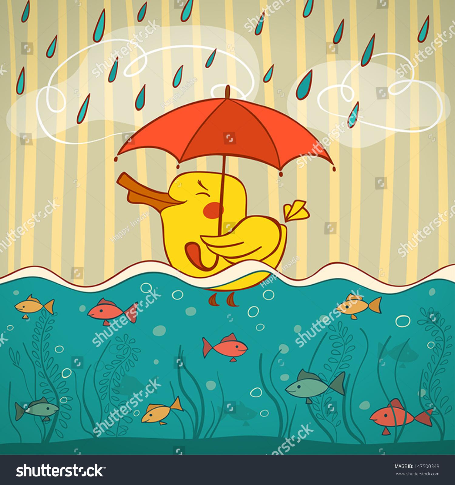 里游泳和鱼在伞下