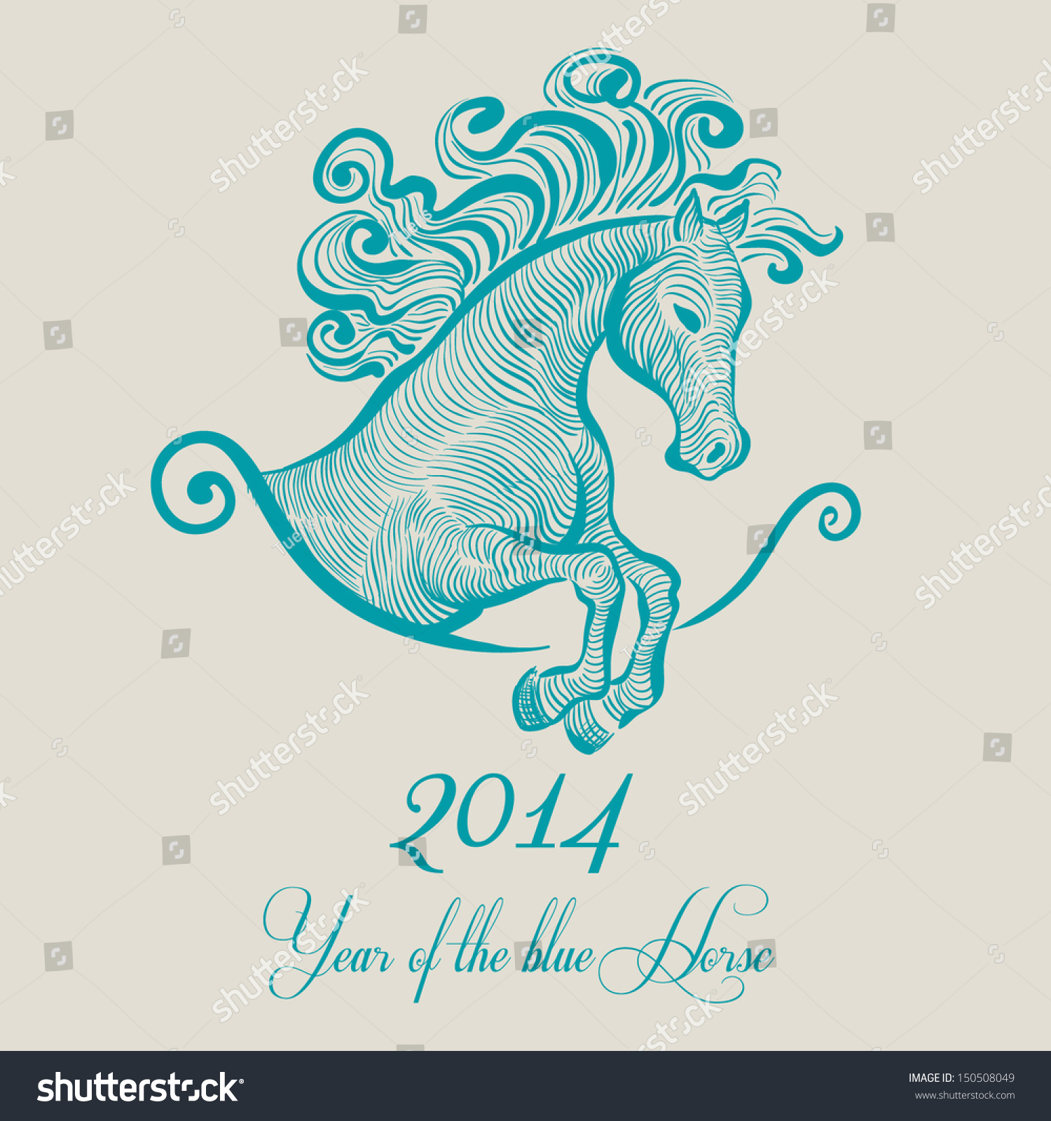 马新年2014 -矢量插图-动物/野生生物,假期-海洛创意