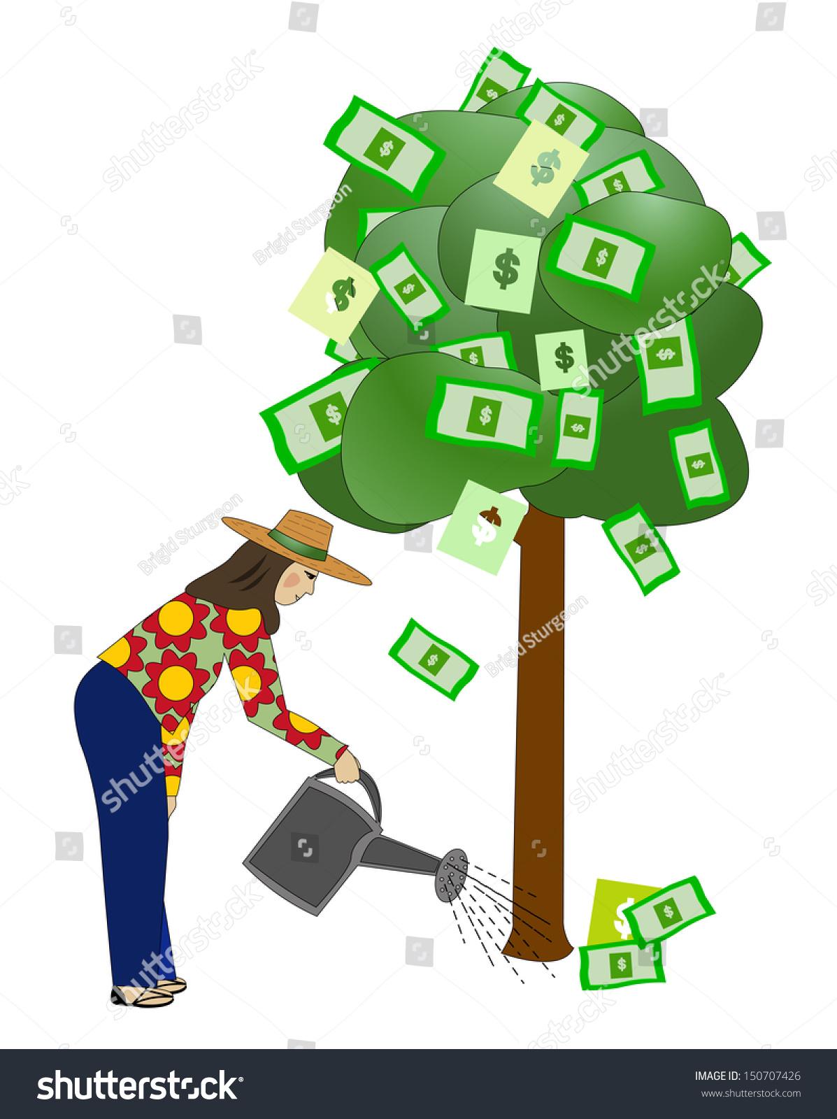女人钱浇树/浇树-商业/金融,符号/标志-海洛创意()-合
