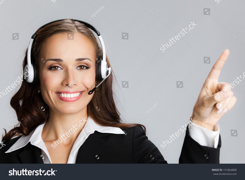 客户支持电话接线员的肖像