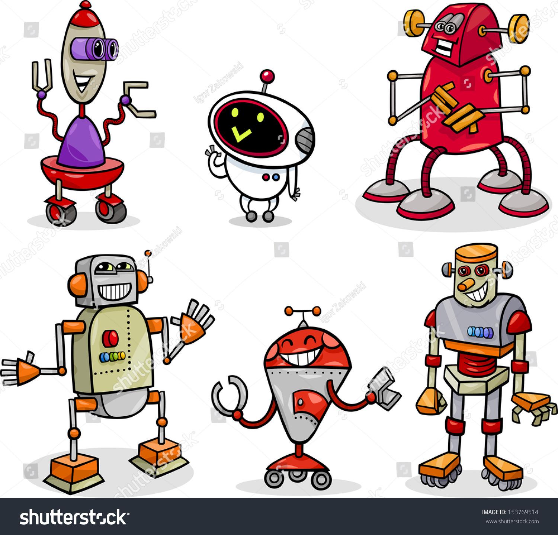 卡通插画矢量有趣的机器人或机器人的幻想-科技,其它