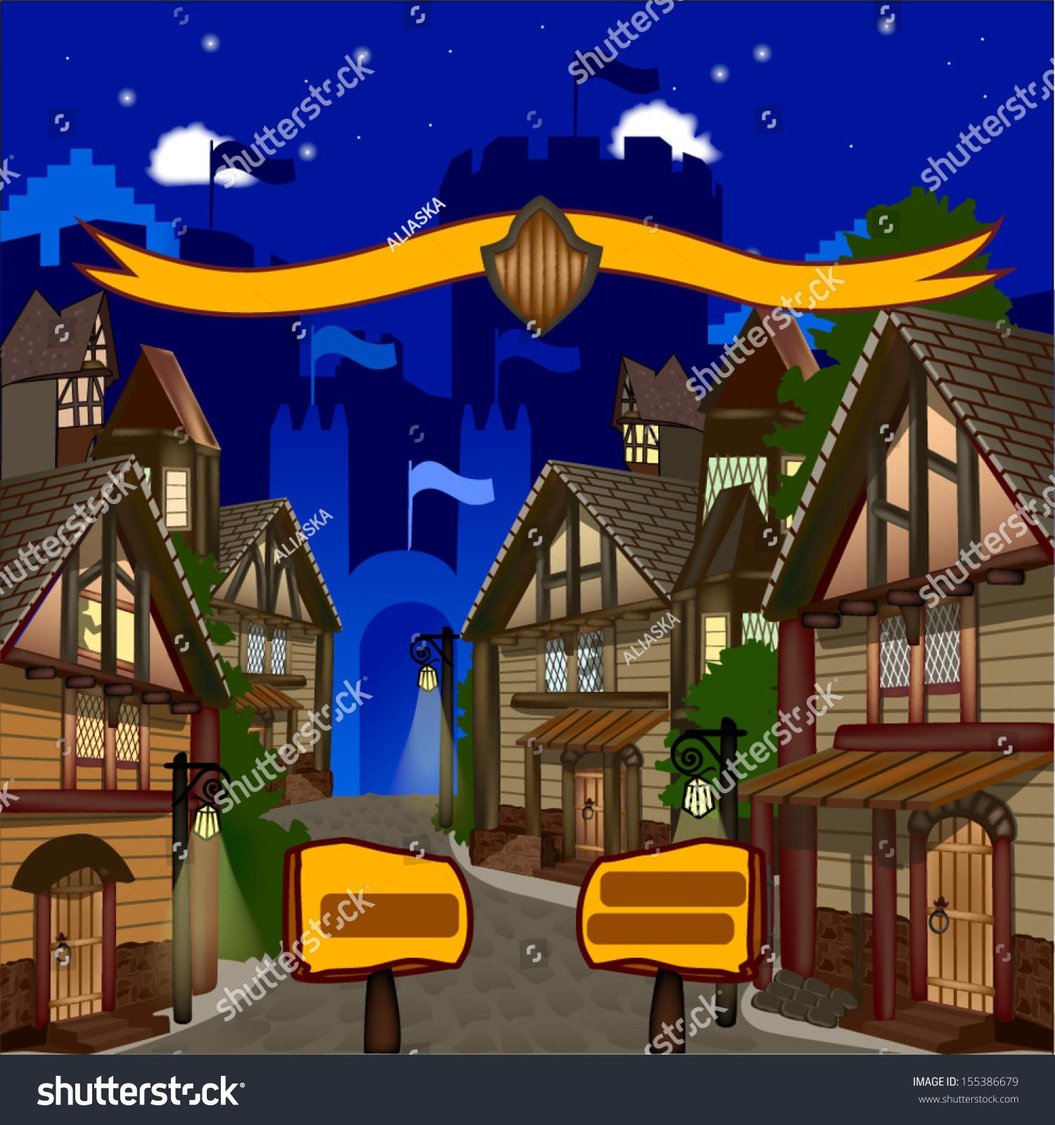 中世纪小镇的街道骑士的背景与旗帜的城堡.-建筑物