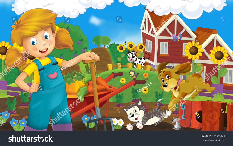 农场--孩子们的幸福插画-背景/素材,艺术-海洛创意()