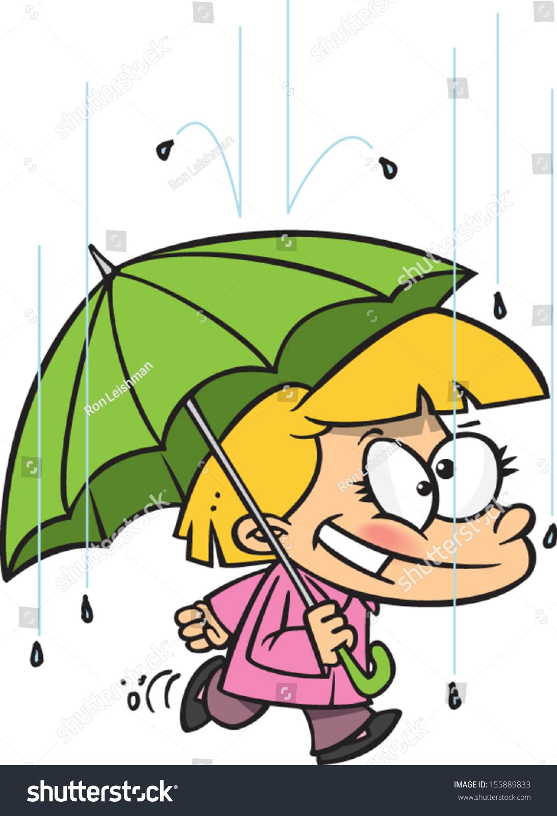 卡通有一把伞在雨中行走的女孩-人物-海洛创意(hello)图片