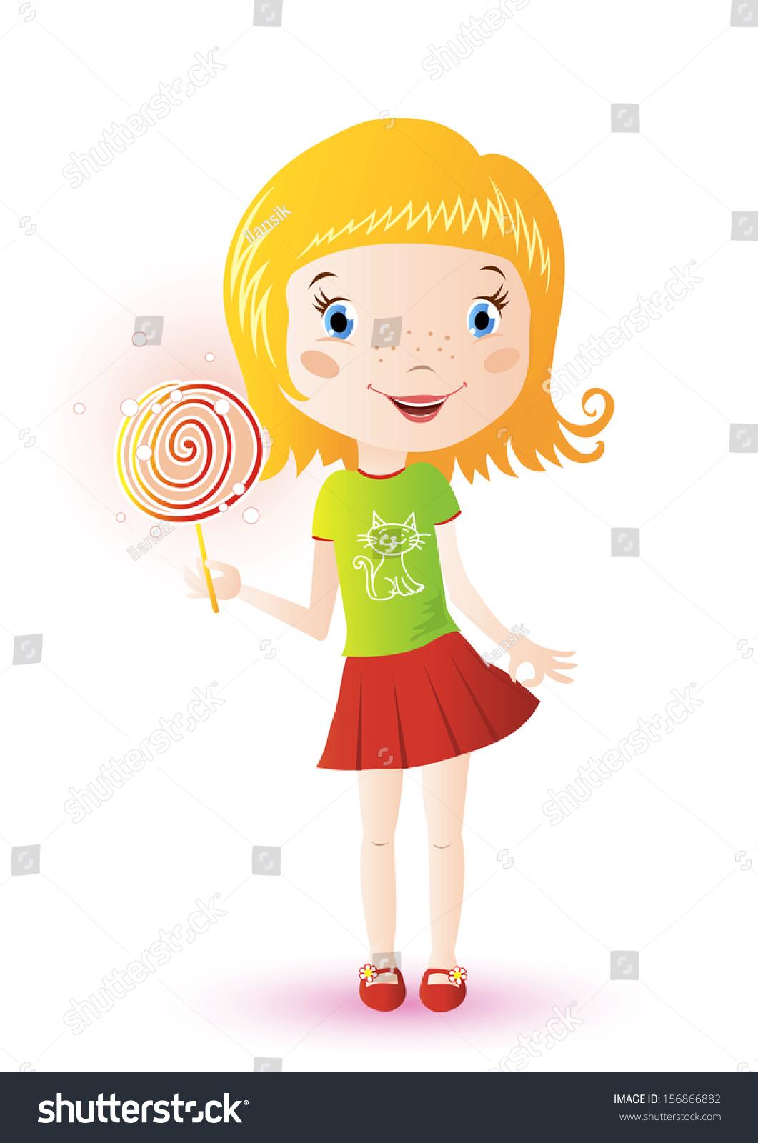 一个可爱的小女孩拿着棒棒糖的插图-食品及饮料,人物