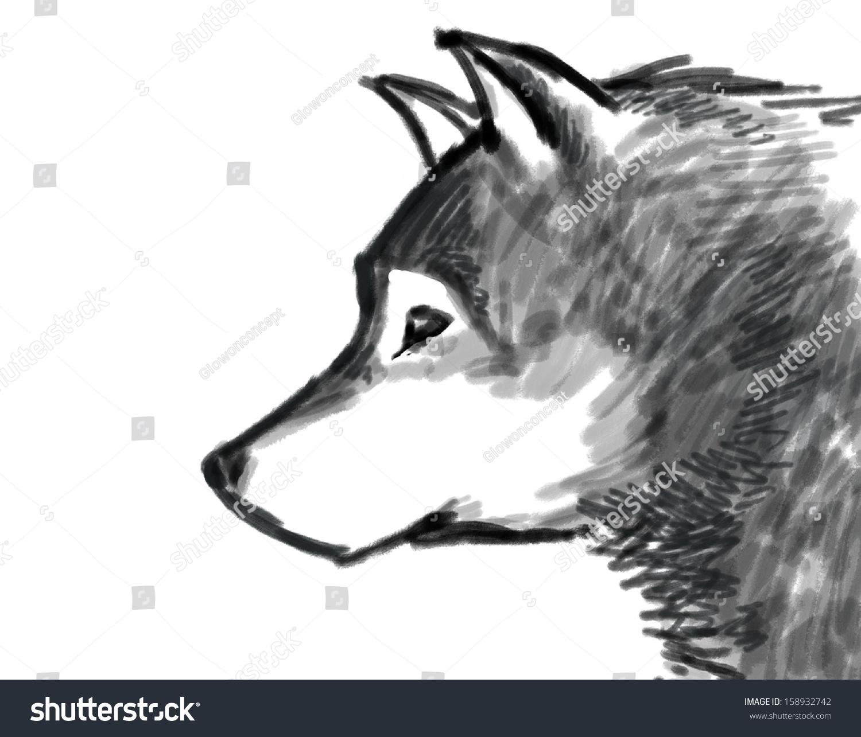 雪狼黑白画-动物/野生生物,艺术-海洛创意(hellorf)-.