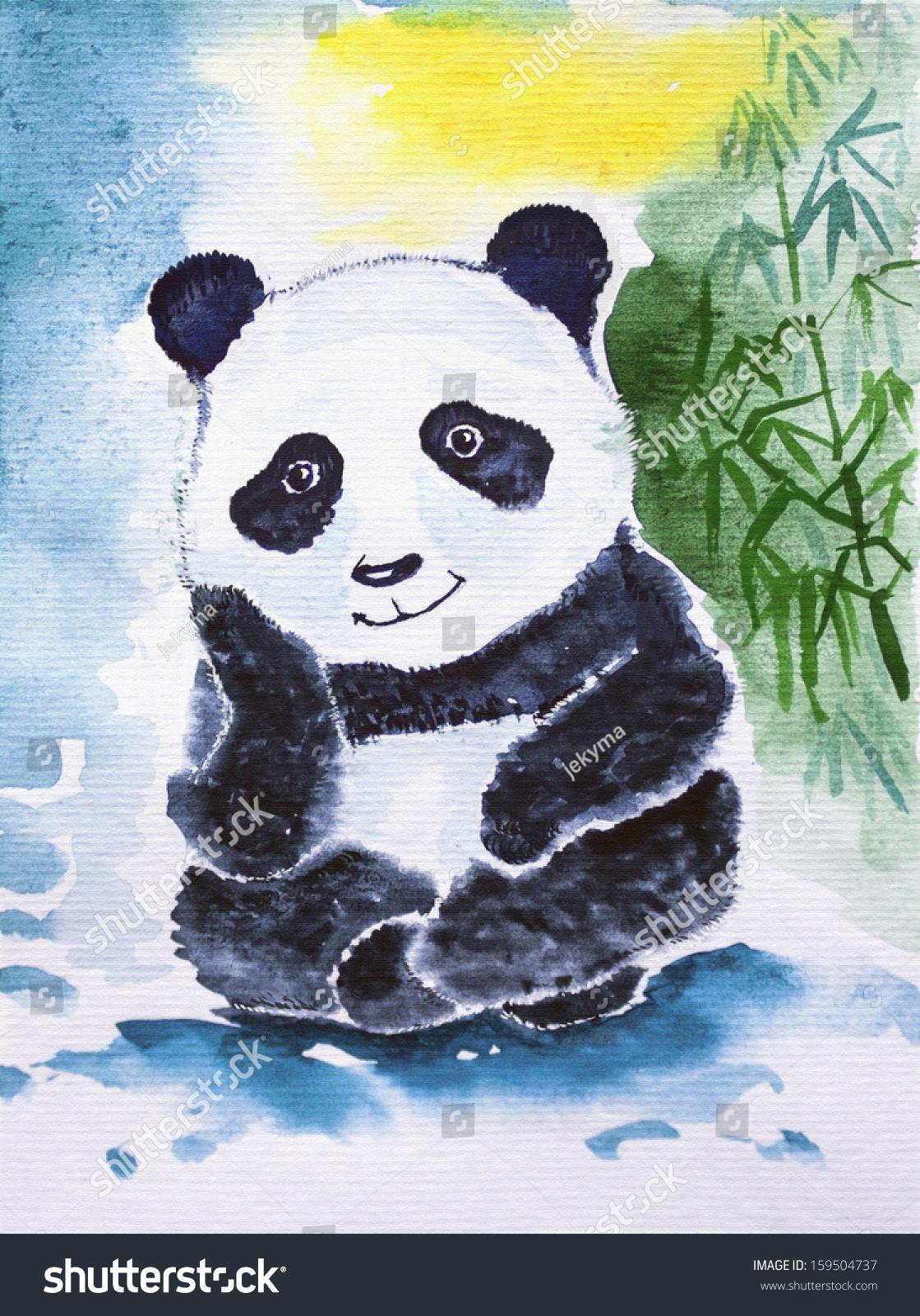 可爱的大熊猫水彩.做梦的竹子
