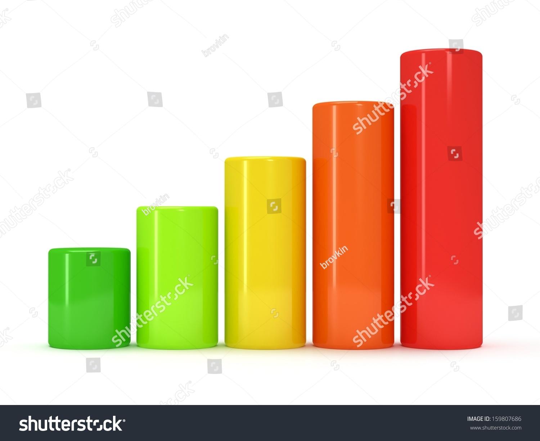 3 d彩色白色圆柱状条形图.绿色,黄色,橙色,红色的颜色