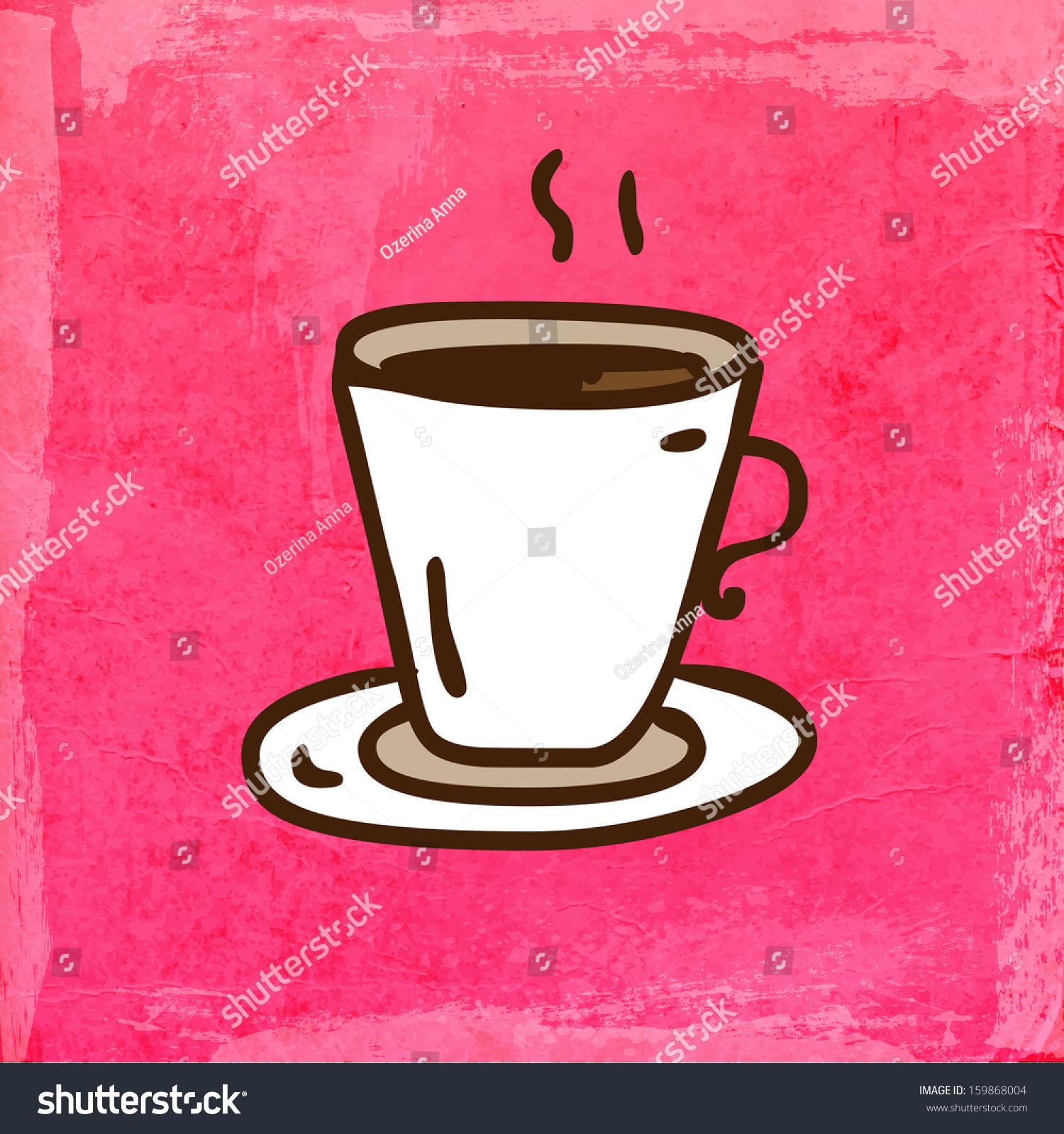 一杯咖啡.可爱的手绘矢量插图