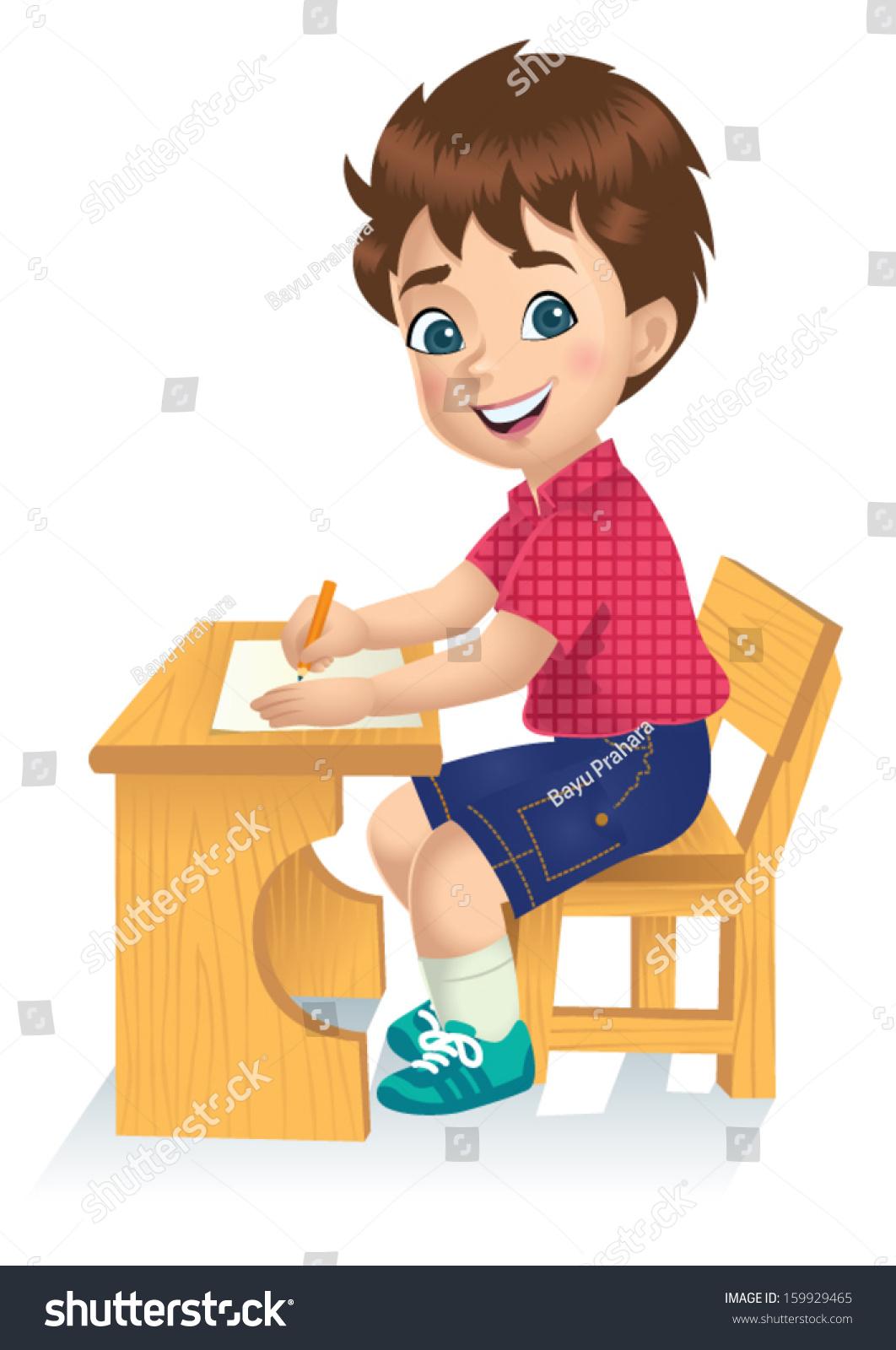 男孩正在写在桌子上-教育-海洛创意(hellorf)-中国-.