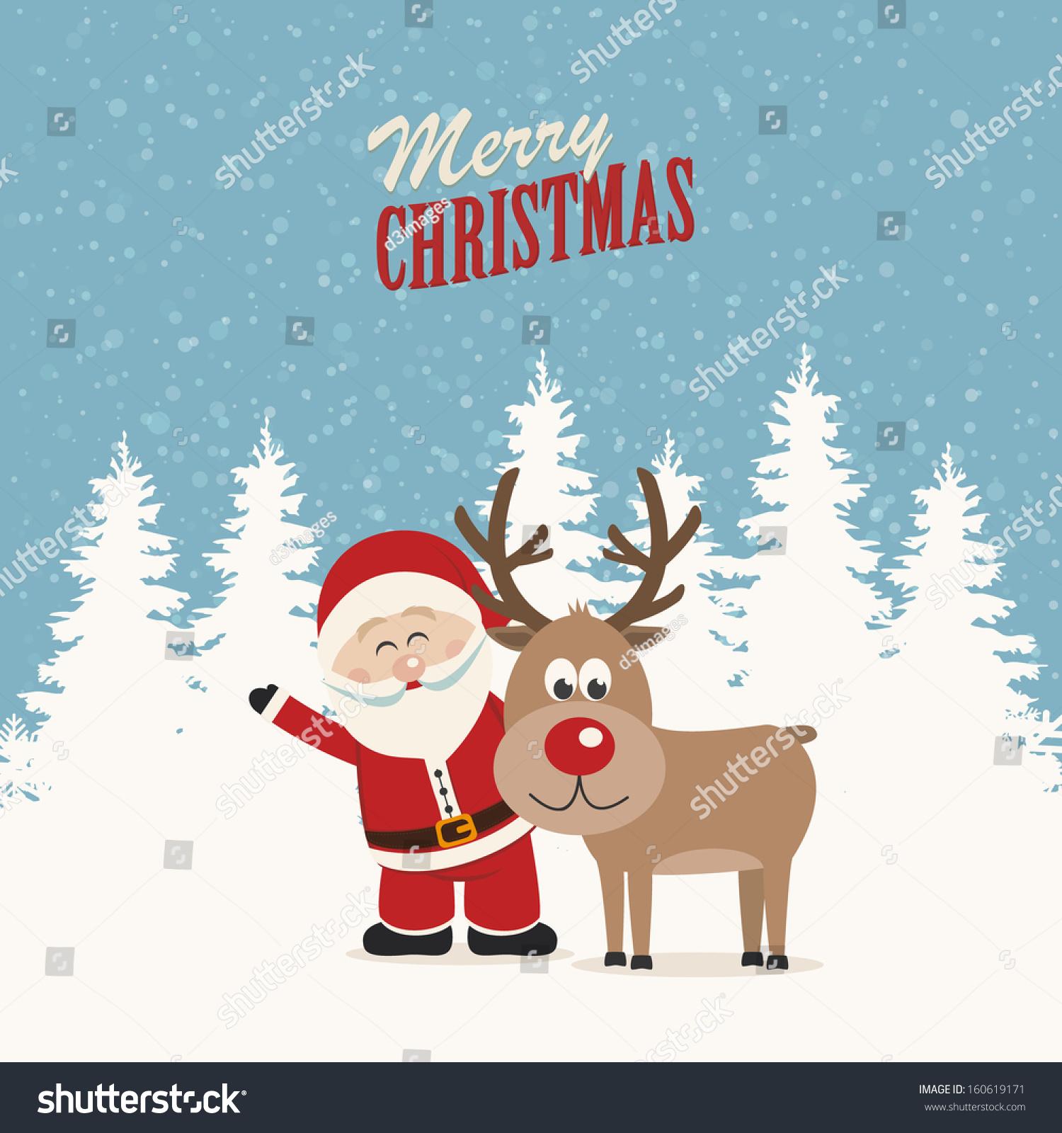 圣诞老人和驯鹿雪冬天背景-背景/素材,假期-海洛创意